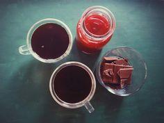different taste today: cafe santo domingo, organic dominican cacao chocolate, blood orange juice :)