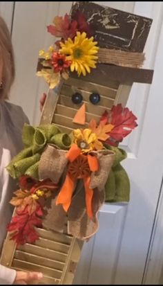 Scarecrow from a repurposed shutter