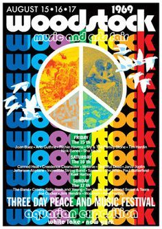 WOODSTOCK Pop Festival - White Lake NY August 1969 - concert live show poster artistic - manifesto artistico concerto. via Etsy. 1969 Woodstock, Woodstock Festival, Woodstock Hippies, Woodstock Poster, Rock Posters, Band Posters, Vintage Concert Posters, Vintage Posters, Musikfestival Poster