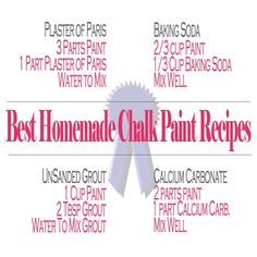 DIY:  Best Homemade Chalk Paint Recipes - this post has 4 recipes for homemade chalk paint.