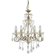 Shamley Gold Compact 5 Arm Ceiling Chandelier at Laura Ashley