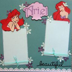 12x12 single page scrapbook layout Disneys Ariel the Little Mermaid via Etsy