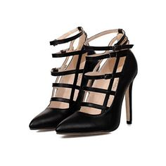 SheIn(sheinside) Black High Heel Buckle Strap Vintage Pumps ($33) ❤ liked on Polyvore featuring shoes, pumps, heels, sapatos, high heels, black, pointed-toe pumps, black pointy-toe pumps, heels stilettos and stiletto pumps