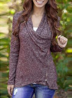 Oasap -  oasap V Neck Long Sleeve Asymmetric Oblique Zip Outwear Coat -  AdoreWe 23af001f81