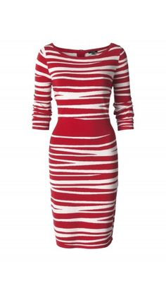 Elegant red and white dress with stripes.