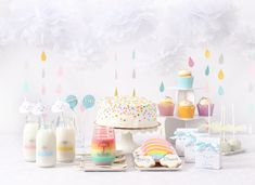 We've got our heads stuck in the clouds! But when it comes to an ultra-adorable baby shower look like this clouds and rainbow theme, can you blame us? Baby Shower Candle Favors, Baby Shower Cake Pops, Baby Shower Brunch, Baby Shower Themes, Baby Boy Shower, Shower Ideas, Cheap Party Supplies, Online Party Supplies, Cheap Party Decorations