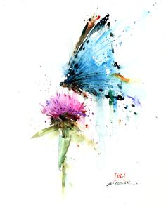 Watercolor Butterfly Tattoo, Butterfly Canvas, Butterfly Painting, Watercolor Flowers, Watercolor Paintings, Watercolors, Butterfly Tattoos, Flower Tattoos, Painting Art