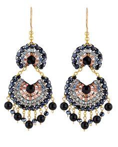 Miguel Ases Onyx Hematite Swarovski Chandelier Earrings