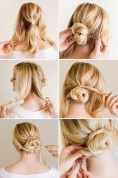 Twists Wrapped Bun   10 Beautiful & Effortless Updo Hairstyle Tutorials for Medium Hair   Gorgeous DIY Hairstyles by Makeup Tutorials at http://makeuptutorials.com/10-beautiful-effortless-updo-hairstyle-tutorials-medium-hair/