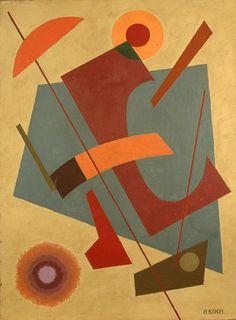 Ivan Kliun (Иван Клюнков): Russian 1873–1943), Composition with a hollowed brown rectangle, 1926. Oil on canvas, 63 x 45.5cm