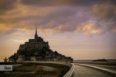 Mont Saint Michel at Sunset, France by SinisaCiglenecki...