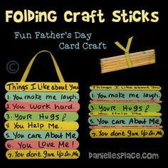 """""""Things i love about you"""" father's day folding craft stick card Diy Father's Day Crafts, Father's Day Diy, Craft Stick Crafts, Kid Crafts, Craft Sticks, Popsicle Sticks, Summer Crafts, Creative Crafts, Easy Crafts"""
