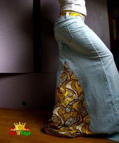 Jupe Longue en Jean et tissus Africain Taille XSS par HATaFAYA, $50.00