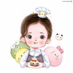 Cartoon Girl Images, Cute Cartoon Drawings, Cute Cartoon Pictures, Cute Cartoon Girl, Cute Love Cartoons, Art Drawings Sketches Simple, Cute Girl Face, Cartoon Art, Cute Food Art