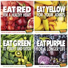 Eat the rainbow Eat red for a health heart & blood. Eat yellow for tendons, ligaments & cartilage. Eat green for immunity. Eat purple for a longer life. Healthy Diet Tips, Get Healthy, Healthy Lifestyle, Healthy Recipes, Eating Healthy, Healthy Choices, Healthy Habits, Health Eating, Happy Healthy