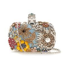 Alexander McQueen Skull-embellished box clutch (14.265 BRL) ❤ liked on Polyvore featuring bags, handbags, clutches, purses, blue multi, skull purse, evening hand bags, handbag purse, special occasion clutches and blue handbags