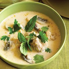 Thai Chicken Coconut Soup (Tom Kha Gai) by Sunset Magazine. This classic Thai soup recipe gets its rich flavor from quintessential Thai ingredients: coconut milk, lemongrass, ginger, chile paste, and more. Food For Thought, Think Food, Chicken Coconut Soup, Thai Chicken, Fresh Chicken, Chicken Soups, Chicken Curry, Chicken Recipes, Coconut Milk Soup Thai