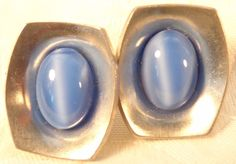 Vintage Designer Georg Jensen Sgd Blue Moonstone & Pewter Modernist Earrings 220 #GeorgJensen #clipon