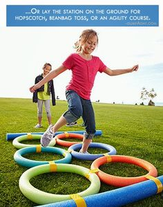 Pool-Noodle-Agility-Course from Dump A Day. Plus other good obstacle course ideas