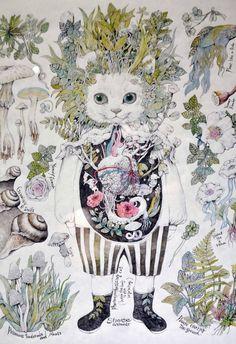 Higuchi Yuko Cat Art