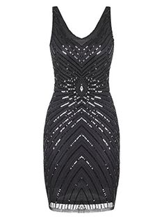 Vijiv Womens 1920s VNeck Art Deco Sequin Beaded Tank Cocktail Flapper Dress ** To view further for this item, visit the image link.-It is an affiliate link to Amazon.
