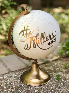 Custom Calligraphy Wedding Guestbook Globe / Choose Wording / White and Gold Globe /Whitewashed Options / Wedding Guestbook Nursery Globe by SelahGraceDesigns on Etsy Design Blog, Design Ideas, Unique Wedding Favors, Wedding Gifts, Wedding Ideas, Unique Weddings, Wedding Planning, Outdoor Weddings, Wedding Fun