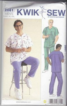 Kwik Sew Sewing Pattern 2861 Mens Sizes S-XXL Men's Scrub Medial Uniforms Top Pants  $11.99