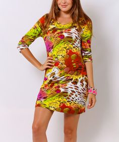 Take a look at the Green & Yellow Abstract Three-Quarter Sleeve Dress on #zulily today!