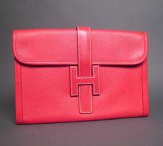 Hermes Jige Red Calf Leather Clutch Bag Mint