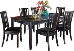 Create the perfect eating space with a or 7 Piece Dining Room Set. Ashley Furniture HomeStore has payment plans for anyone's budget! Solid Wood Dining Chairs, Table And Chairs, Wood Chairs, Space Furniture, Home Furniture, Furniture Showroom, Large Furniture, Contemporary Furniture, Contemporary Style