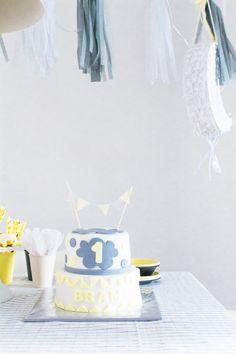 &SUUS| Kinderverjaardag Bram 1 Jaar | www.ensuus.nl | Cake Taart Birthday Grey Yellow |
