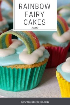 Rainbow Fairy Cakes - Pinterest Fail! | This is a super tasty recipe for a plain vanilla fairy cake with a cloud and rainbow decoration. Perfect for birthdays, parties or even a baby shower. This post is how I got on baking with children - it was a bit of a pinterest fail but they still taste delicious! www.fivelittledoves.com
