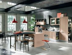 Our selection of 44 images, dedicated to modern industrial kitchen is sure will inspire you and make you want to bring that style of decoration in your kitchen space Estilo Hipster, Loft Kitchen, Loft Interiors, Home Trends, Cuisines Design, Modern Industrial, Elle Decor, Beautiful Kitchens, Interior Design Kitchen