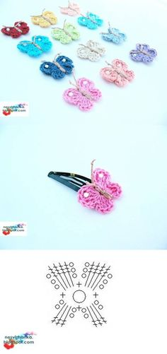 Crochet Butterfly Hairclips