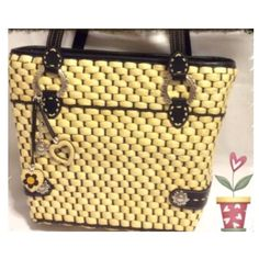 👑🐶Brighton NEW classy bag✨✨✨👑 💋SALE💋Final💢💢💢classy shoulder bag...Brighton new beautiful inside pattern👑👑👑 Must have for a collector😘😘😘.               Measurements are:  Top across       13 1/2 inches Bottom across 10 inches Height center  10 inches Side height       10 1/2 inches Width                 3 1/2 wide Handles from top of purse are 10 inches long Brighton Bags Shoulder Bags