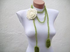 Hand crochet Lariat Scarf Green Cream Flower Lariat Scarf Long Necklace Holiday Accessories. $16.00, via Etsy.
