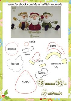 Mamma Mia Handmade: Noel Cast in Felt Felt Christmas Ornaments, Noel Christmas, All Things Christmas, Christmas Decorations, Father Christmas, Christmas Projects, Felt Crafts, Holiday Crafts, Bastelarbeit Winter