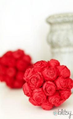 DIY mini rose pomander - the roses are made out of streamers!
