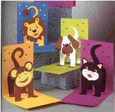 Pop up animal cards Kids Crafts, Diy And Crafts, Paper Crafts, Pop Up Art, Birthday Card Pop Up, Birthday Cards For Kids, Birthday Board, 3d Cards, Animal Crafts