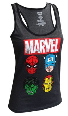 Marvel Comics Avengers Faces Distressed Racer Back Tank Top Why choose one hero to love when you can have four? Featuring 4 of ...