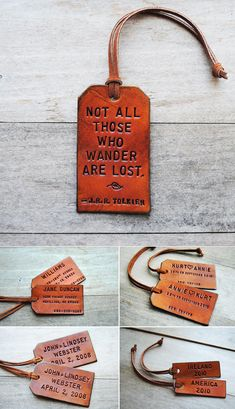 Handmade leather tags from Etsy