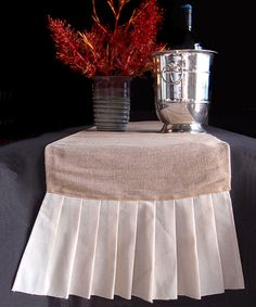 Outfit your tables with this marvelous Burlap and Cotton Pleated Ruffle Table Runner. The table runner measures long by wide. Each end of the runner has long cotton pleated ruffles. Burlap Chair Sashes, Burlap Table Runners, Burlap Curtains, Burlap Fabric, Burlap Pillows, Colored Burlap, Burlap Canvas, Chevron Burlap, Burlap Christmas