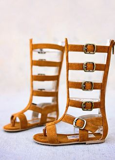Joyfolie Jayla Gladiator sandals in rust suede
