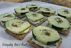 ~Dill Cucumber Bites~ Cream cheese, cucumber and dill crackers make these a yummy appetizer or even light lunch.