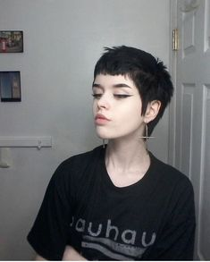 Black Pixie Cut for Thick Hair - 20 Sassy and Sexy Black Pixie Cuts - The Trending Hairstyle Gothic Hairstyles, Pixie Hairstyles, Pixie Haircut, Cool Hairstyles, Short Punk Hairstyles, Haircuts, Punk Girl Hair, Goth Hair, Very Short Hair