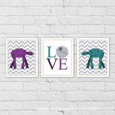Star Wars AT-AT Art Print. LOVE Art Print. Teal by waiwaiartprints