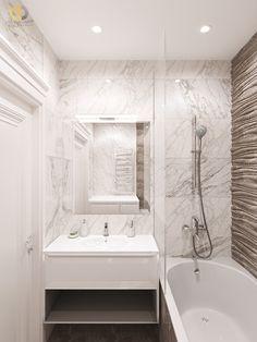 Дизайн интерьера ванной в двухкомнатной квартире 81 кв.м в стиле неоклассика с элементами ар-деко1 Alcove, Bathtub, Bathroom, Projects, Standing Bath, Washroom, Log Projects, Bathtubs, Blue Prints