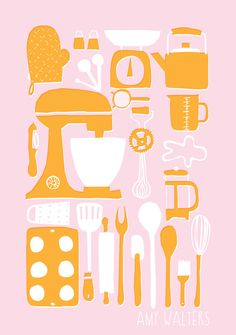 A3 Retro Kitchen Illustration Print.