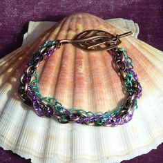 Antiqued Copper, Green And Lilac Braided Chain Bracelet