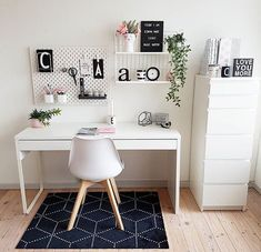 WORKSPACE in white what a dream by ! Please check out her feed Thank you so much for participating my sfs . - Architecture and Home Decor - Bedroom - Bathroom - Kitchen And Living Room Interior Design Decorating Ideas - Study Room Decor, Cute Room Decor, Room Ideas Bedroom, Bedroom Decor, Office In Bedroom Ideas, Office Ideas, White Desk Bedroom, Office Inspo, Study Rooms